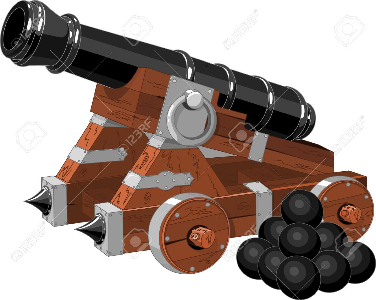 Old Pirate Ship Cannon And Cannon Balls Royalty Free Cliparts.