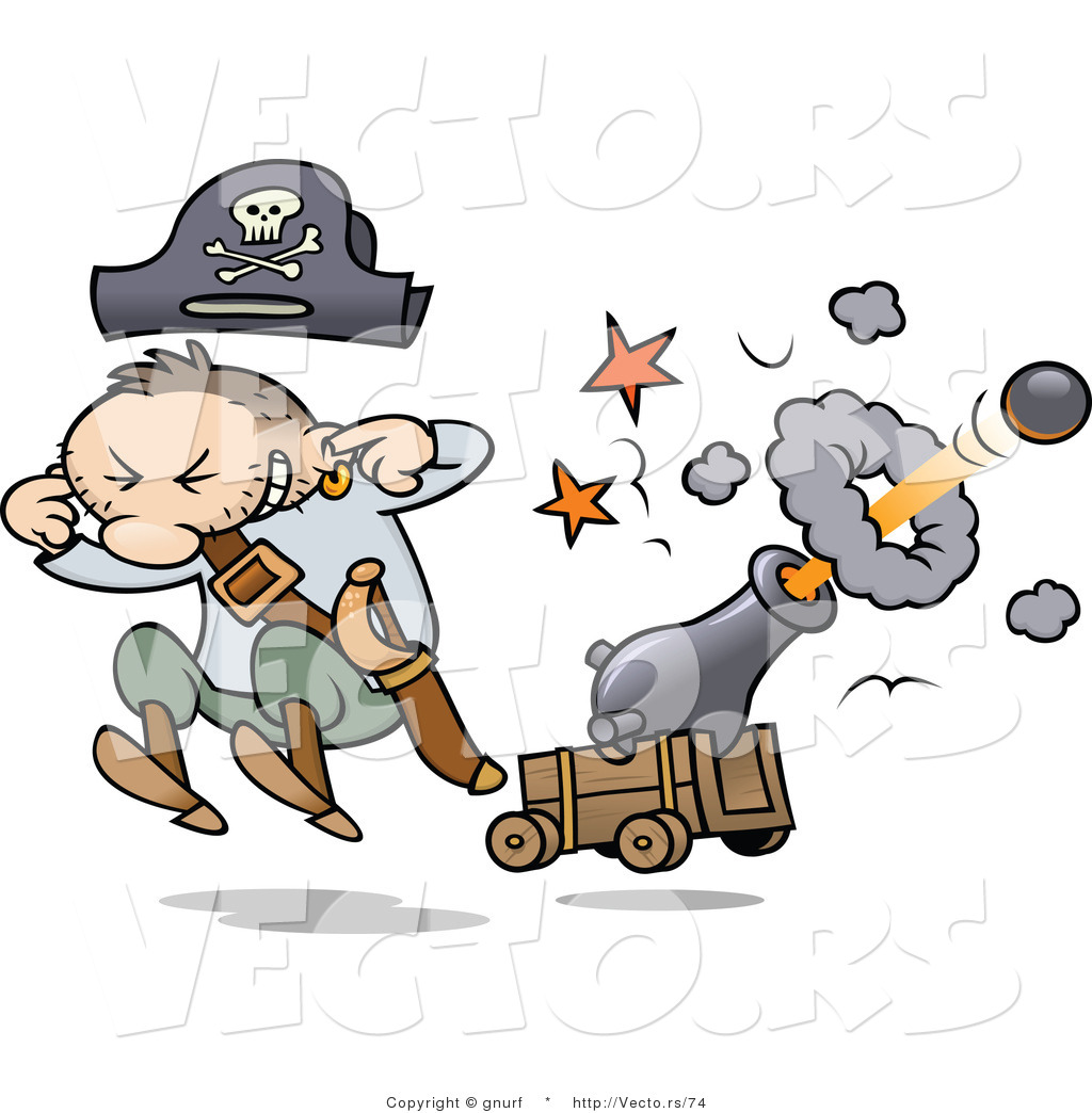 Vector of a Cartoon Pirate Shooting a Cannon with Ball by gnurf.