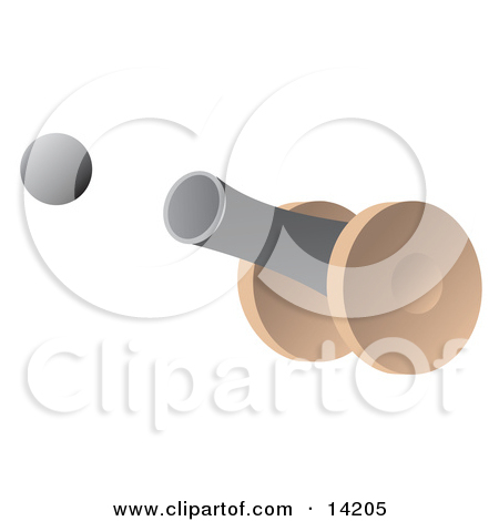 Cannon Firing a Cannon Ball Clipart Illustration by Rasmussen.