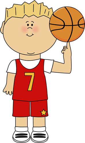 Basketball Player Balancing Ball on Finger Clip Art.