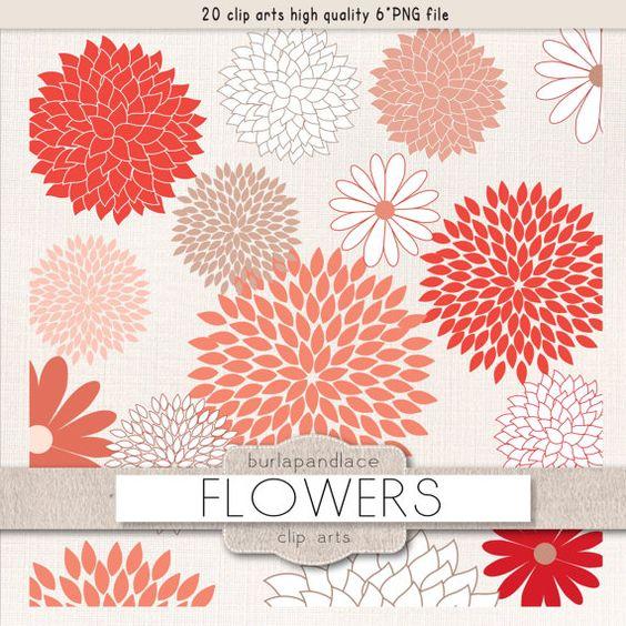Clipart flower cliparts, dahlia, coral red, dahlia clipart.
