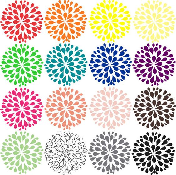 Flower clip art, Dahlia clip art 16 different colored dahlia.