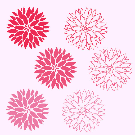 Pink dahlia clipart.