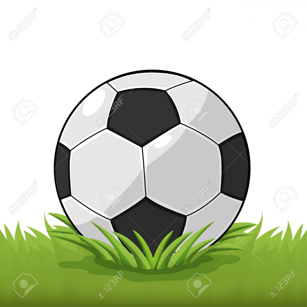 Soccer Ball Field Grass Cartoon Vector.