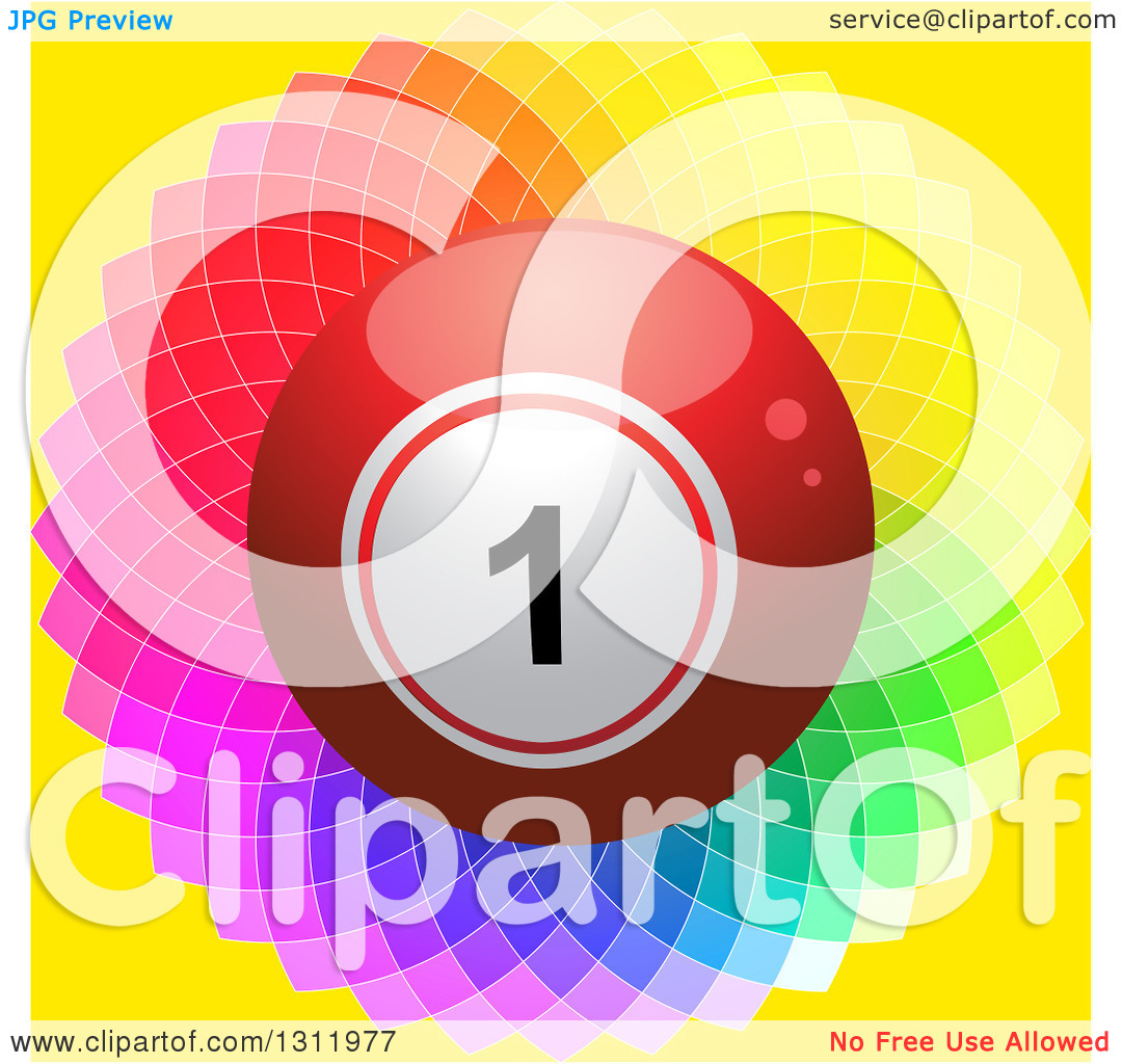Clipart of a 3d Shiny Red Bingo or Lottery Ball on a Colorful.
