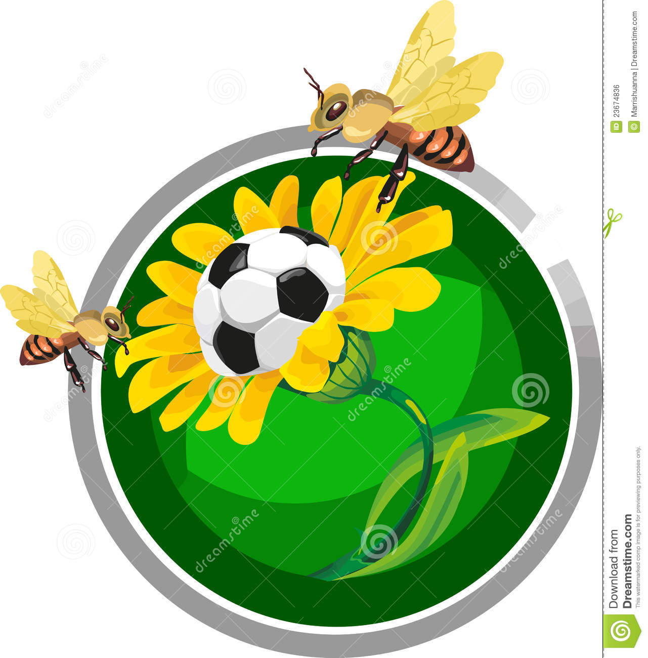 Soccer Ball In The Flowers Royalty Free Stock Image.