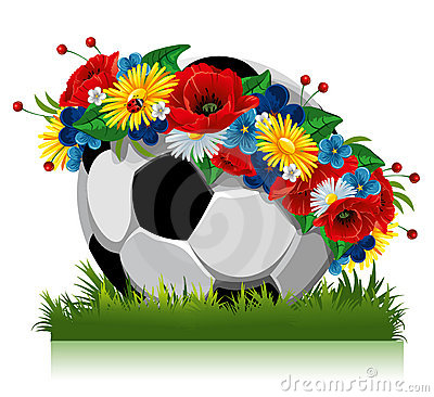 Soccer Ball Flowers Stock Illustrations.