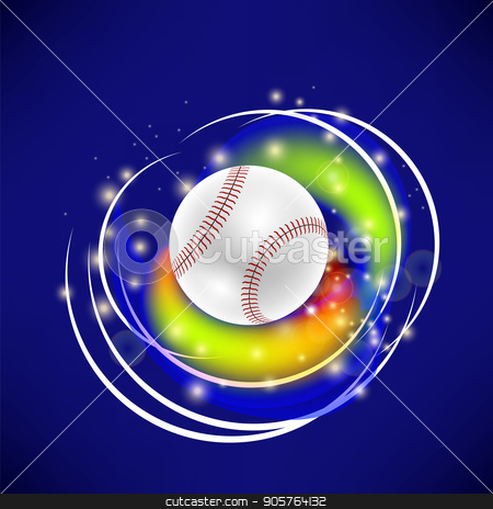 Flying Baseball Ball with Yellow Sparkles stock vector.