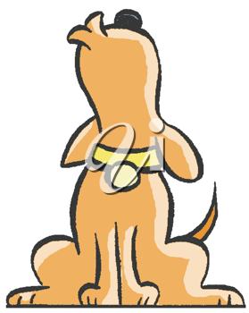 Royalty Free Clipart Image of a Howling Dog.