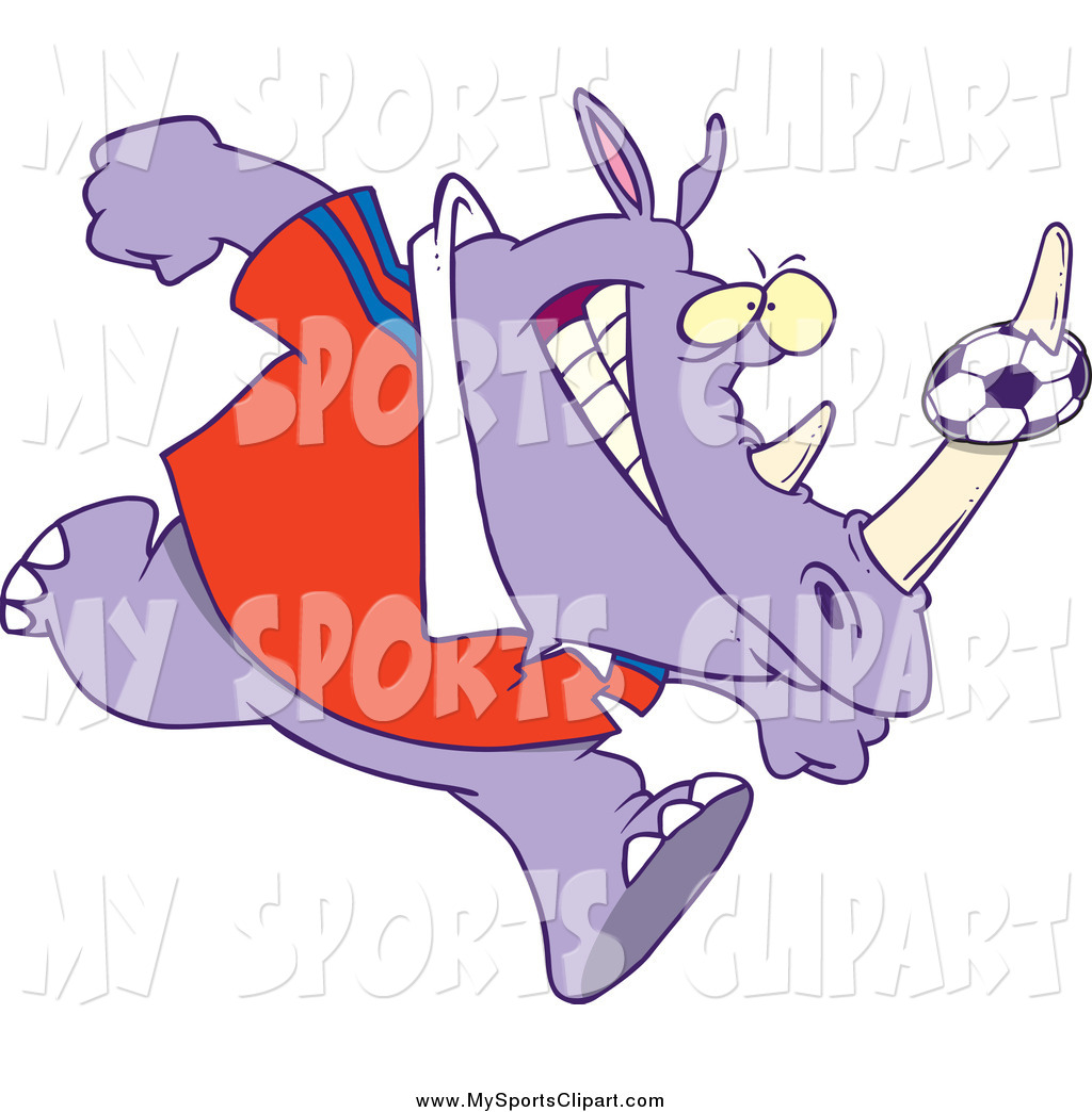 Sports Clip Art of a Purple Rhino with a Soccer Ball on His Horn.