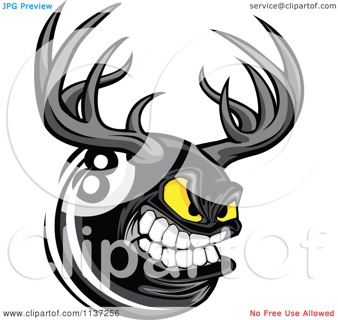 Cartoon Of An Aggressive Eight Ball With Antlers.
