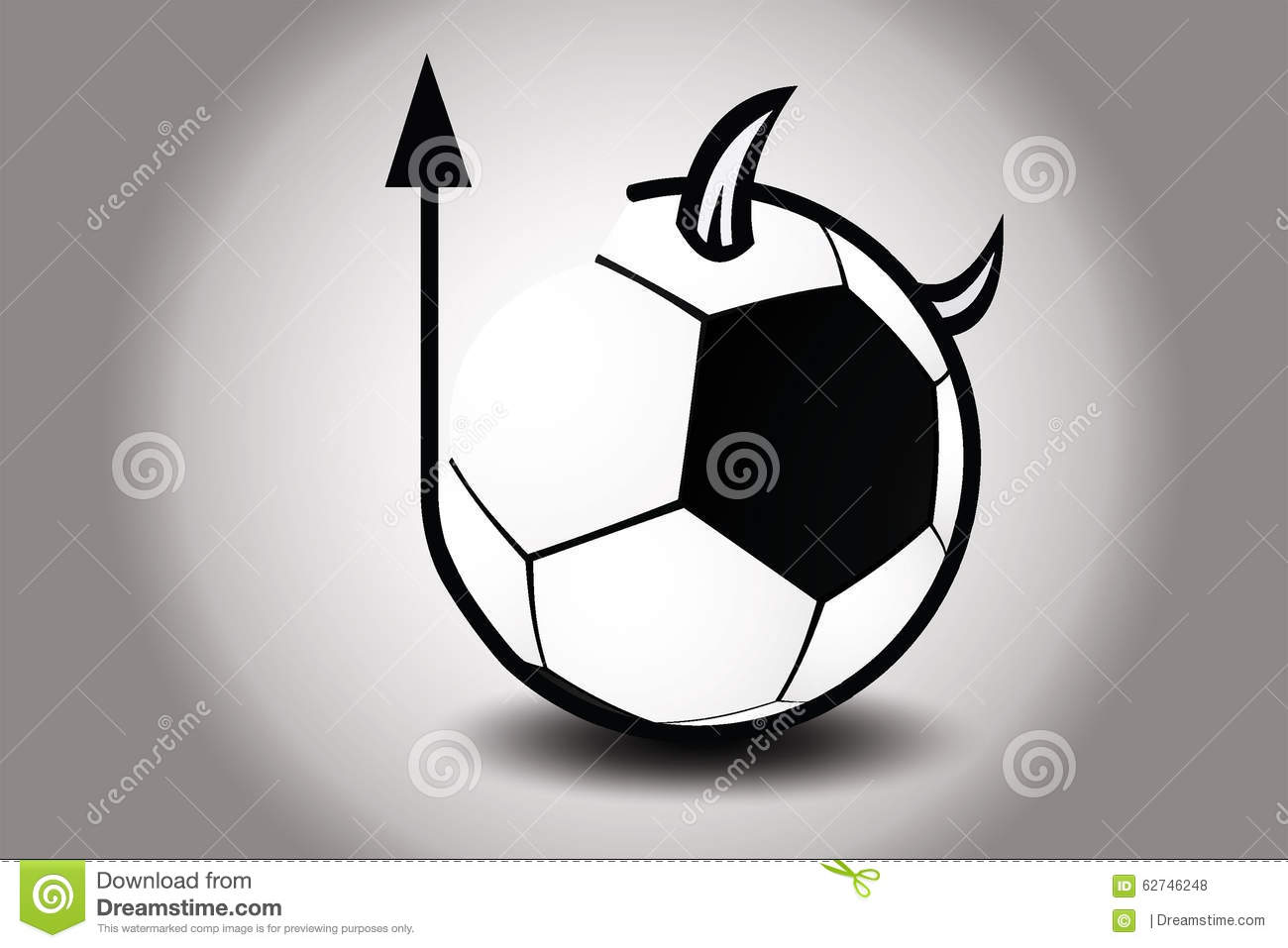 Soccer Ball With Devils Horn And Tail. Vector Illustration Stock.