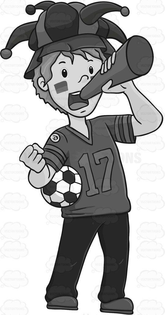 Soccer Fan Wearing A Joker Hat And Blowing A Horn.