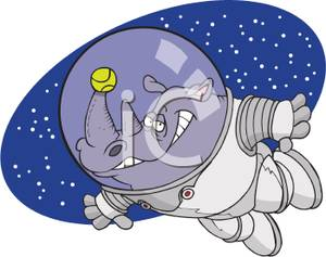 Rhinoceros Astronaut with a Tennis Ball on His Horn Clip Art Image.
