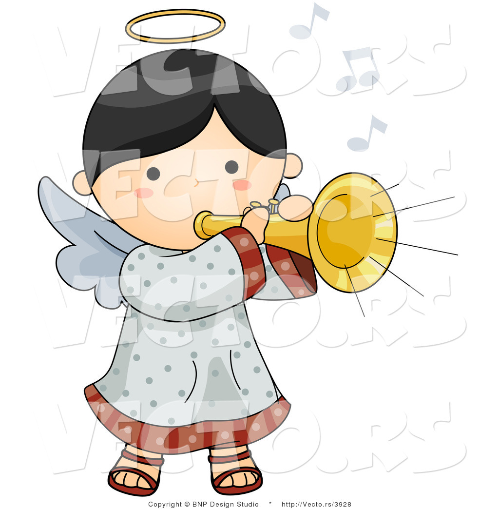 Vector of Cartoon Angel Girl Playing a Horn by BNP Design Studio.