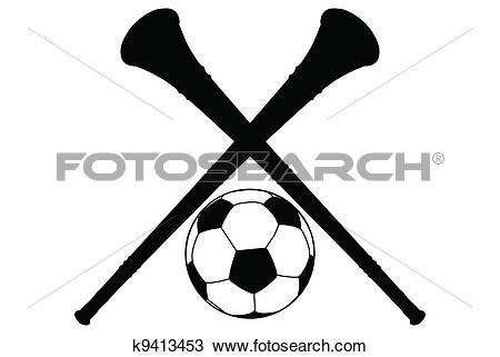 Clipart of Vuvuzela Horn and Soccer Ball Silhouette Isolation.