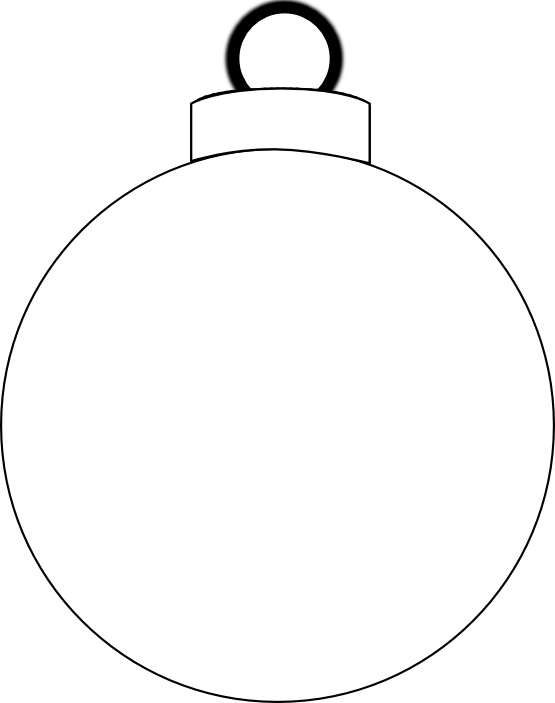 Christmas bulb clipart black and white.