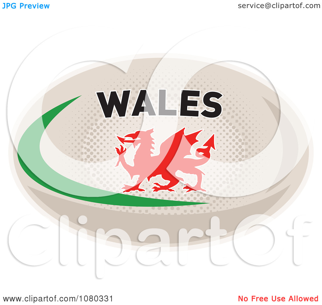 Welsh rugby ball clipart.