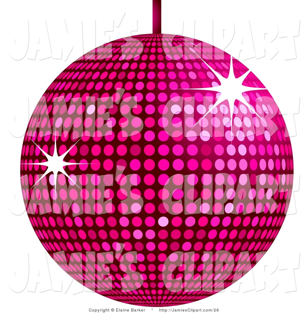 Clip Art of a Pink Shiny Disco Ball Suspended from a Ceiling, with.