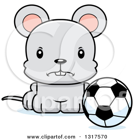 Animal Clipart of a Cartoon Cute Mad Mouse Sitting by a Soccer.