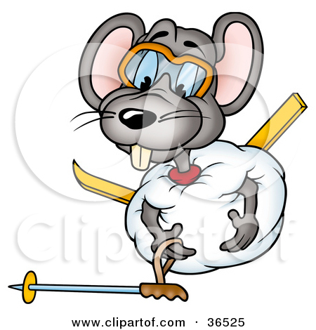 Clipart Illustration of a Clumsy Mouse Rolled Up In A Ball Of Snow.