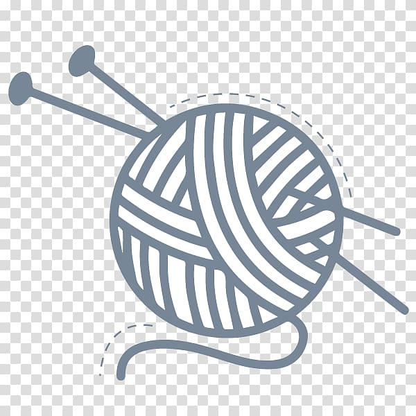 Gray and white yarn ball illustration, Yarn Wool Knitting.