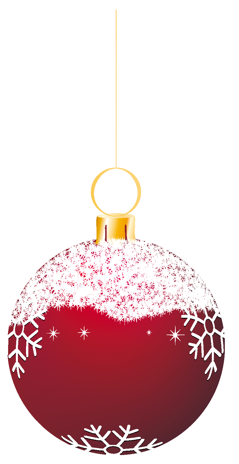 Transparent Red Snowy Christmas Ball Ornament Clipart.
