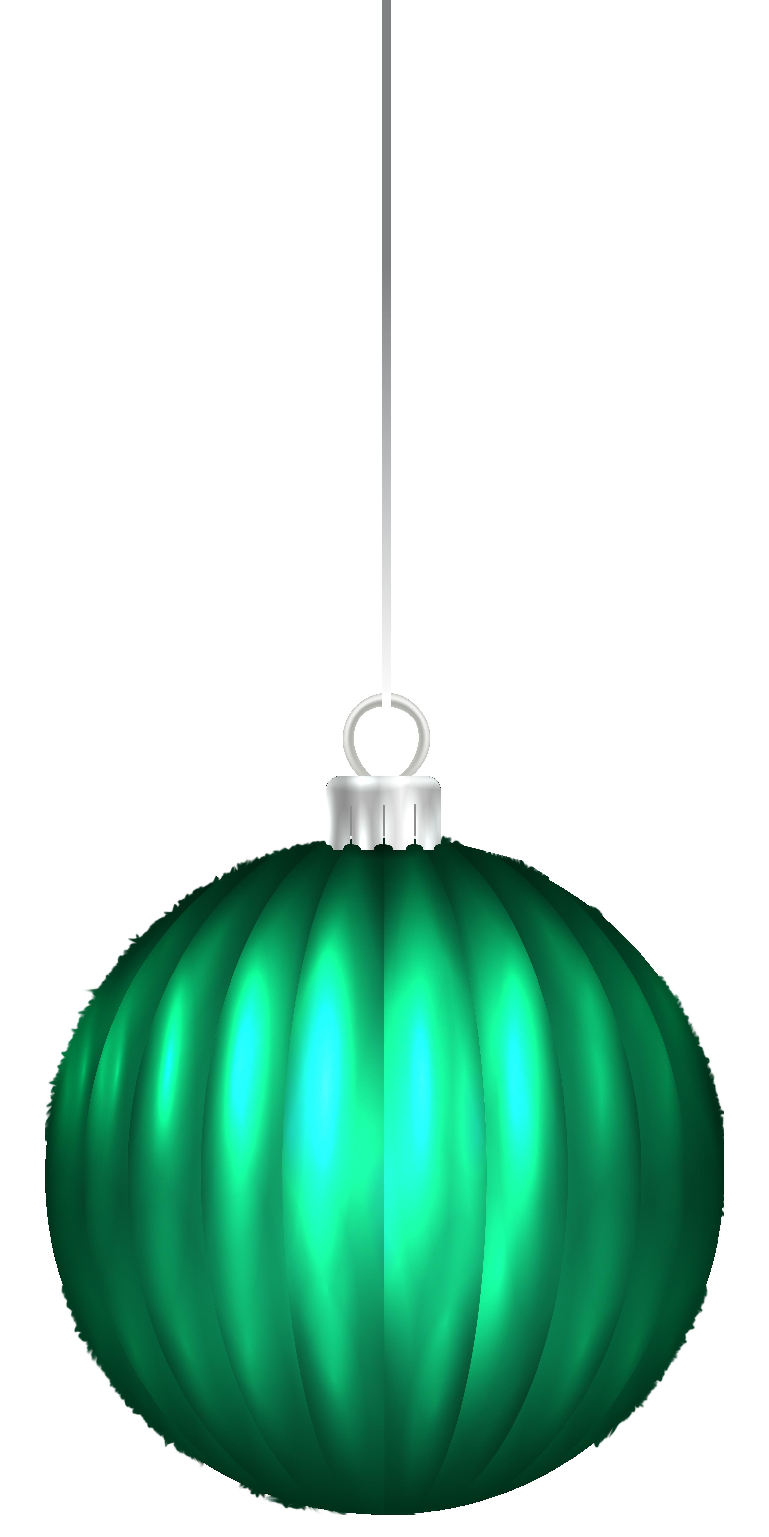 Green Christmas Ball Ornament PNG Clip Art Image.