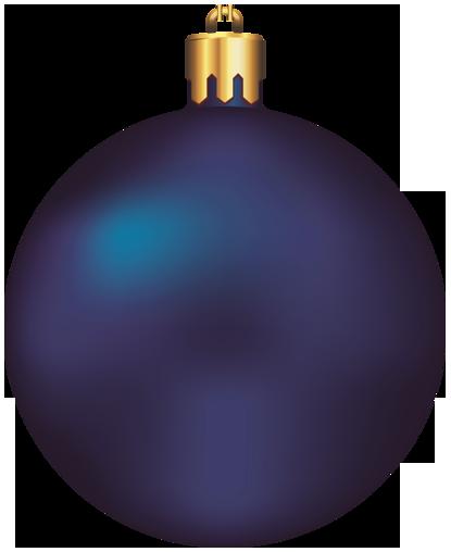 Transparent Dark Blue Christmas Ball Ornament Clipart.