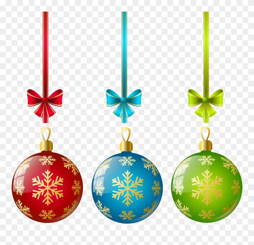 Large Transparent Three Christmas Ball Ornaments Clipart.