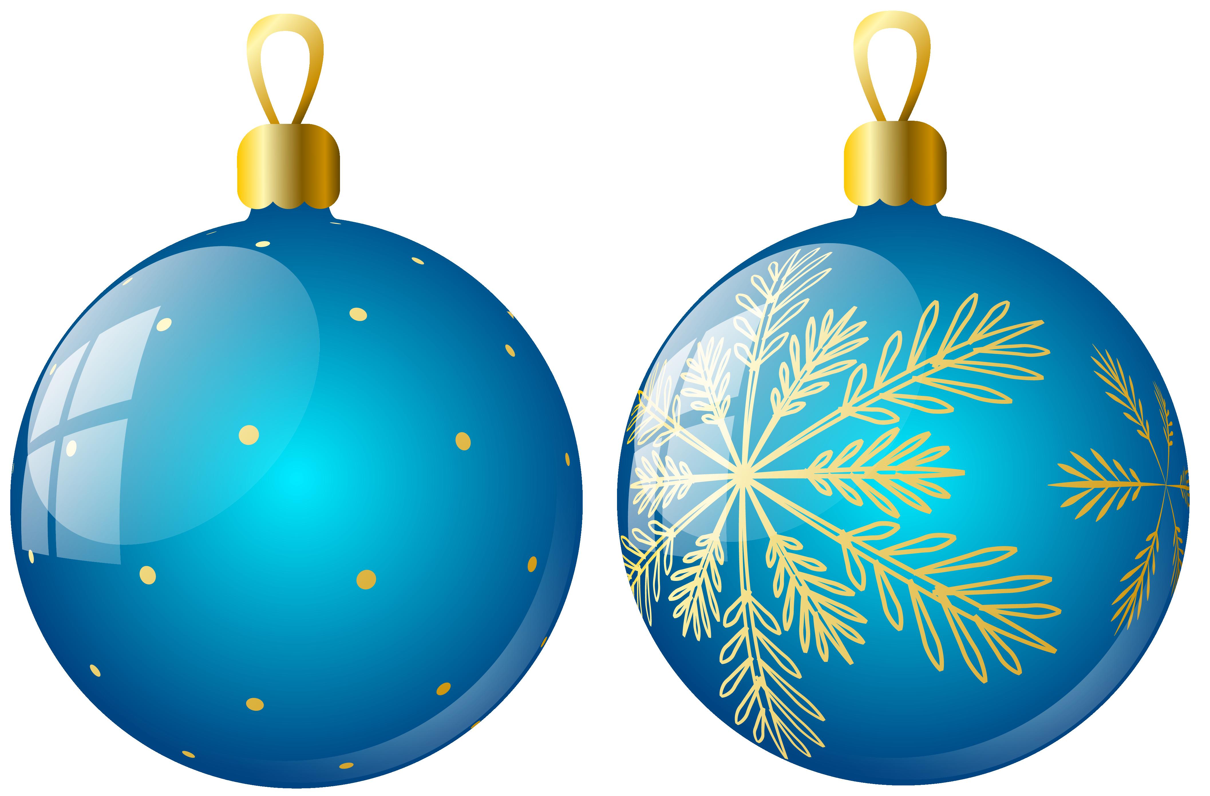 Transparent Two Blue Christmas Balls Ornaments Clipart.