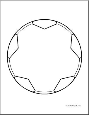 Clip Art: Soccer Ball Open Outline (coloring page) I.