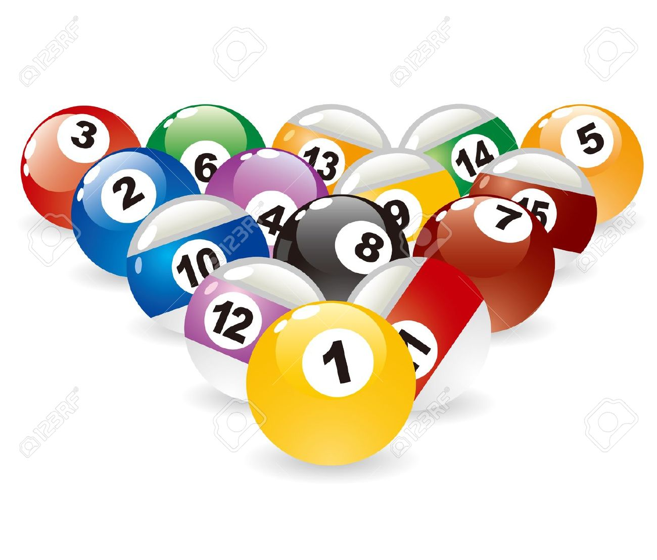 Isolated Colored Pool Balls & Pool Cue Royalty Free Cliparts.