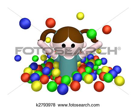 Stock Illustration of Girl in ball pool k2793978.