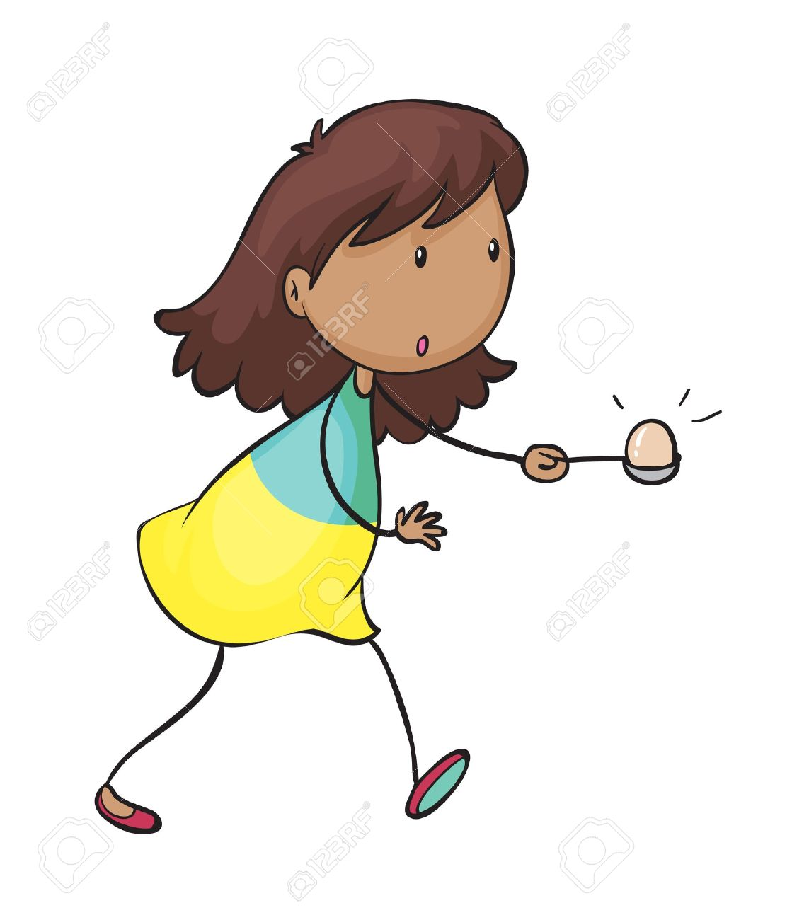 Illustration Of A Girl Doing The Egg And Spoon Race On A White.