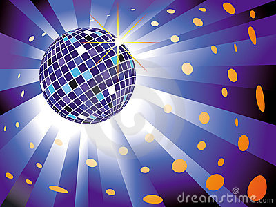 Disco Ball In Blue Light Royalty Free Stock Image.