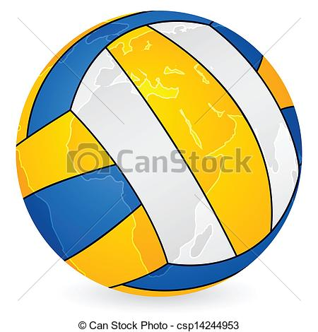 Clipart Vector of world map volleyball ball.