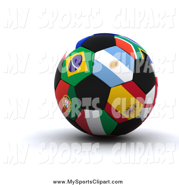 Sports Clip Art of a 3d World Cup Soccer Ball with International.