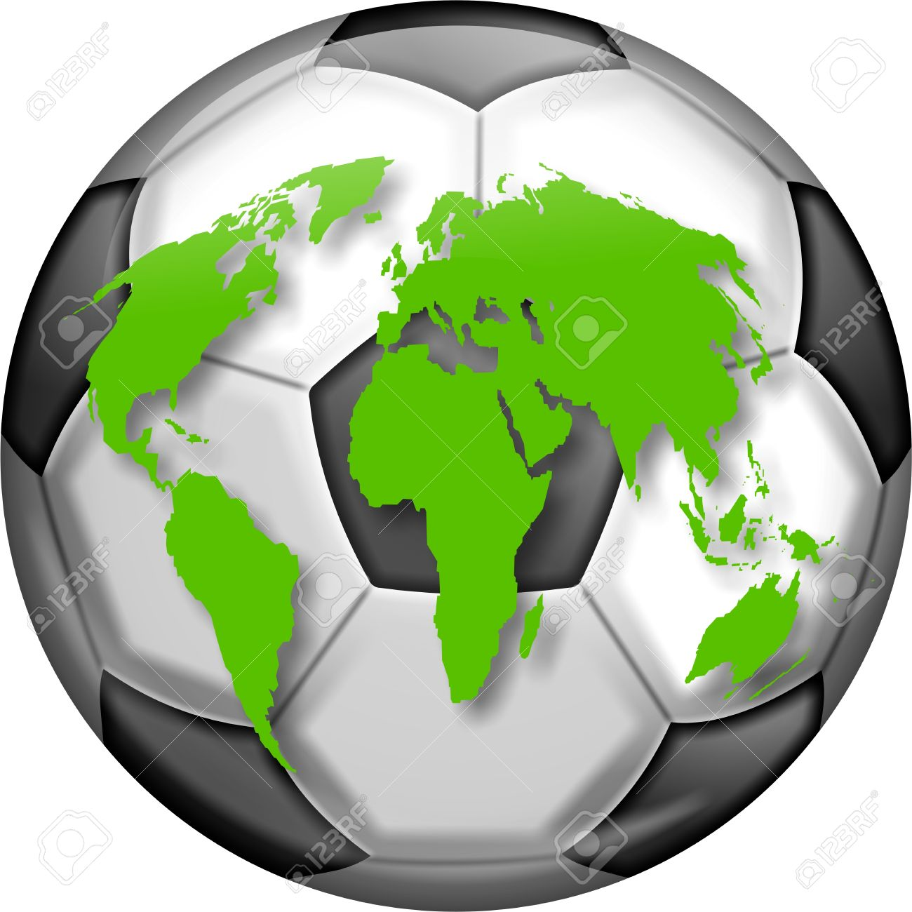 Illustration Of A Soccer Ball With A Map Of The World Designed.