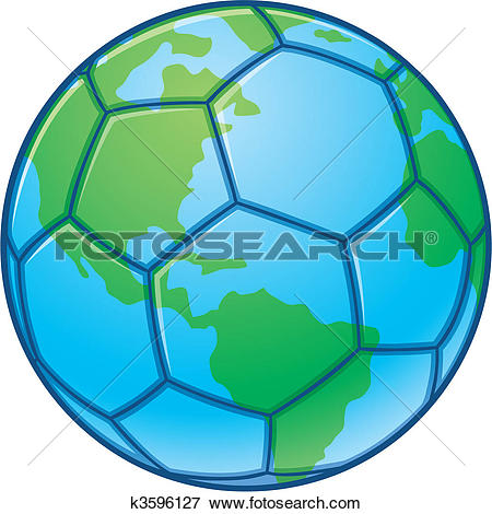 Clip Art of Planet Earth World Cup Soccer Ball k3596127.