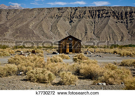Stock Photo of Jailhouse of Ballarat, a ghost town in Inyo County.