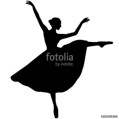 Ballerina dancer silhouette, Ballet dance clipart, Ballerina vector.