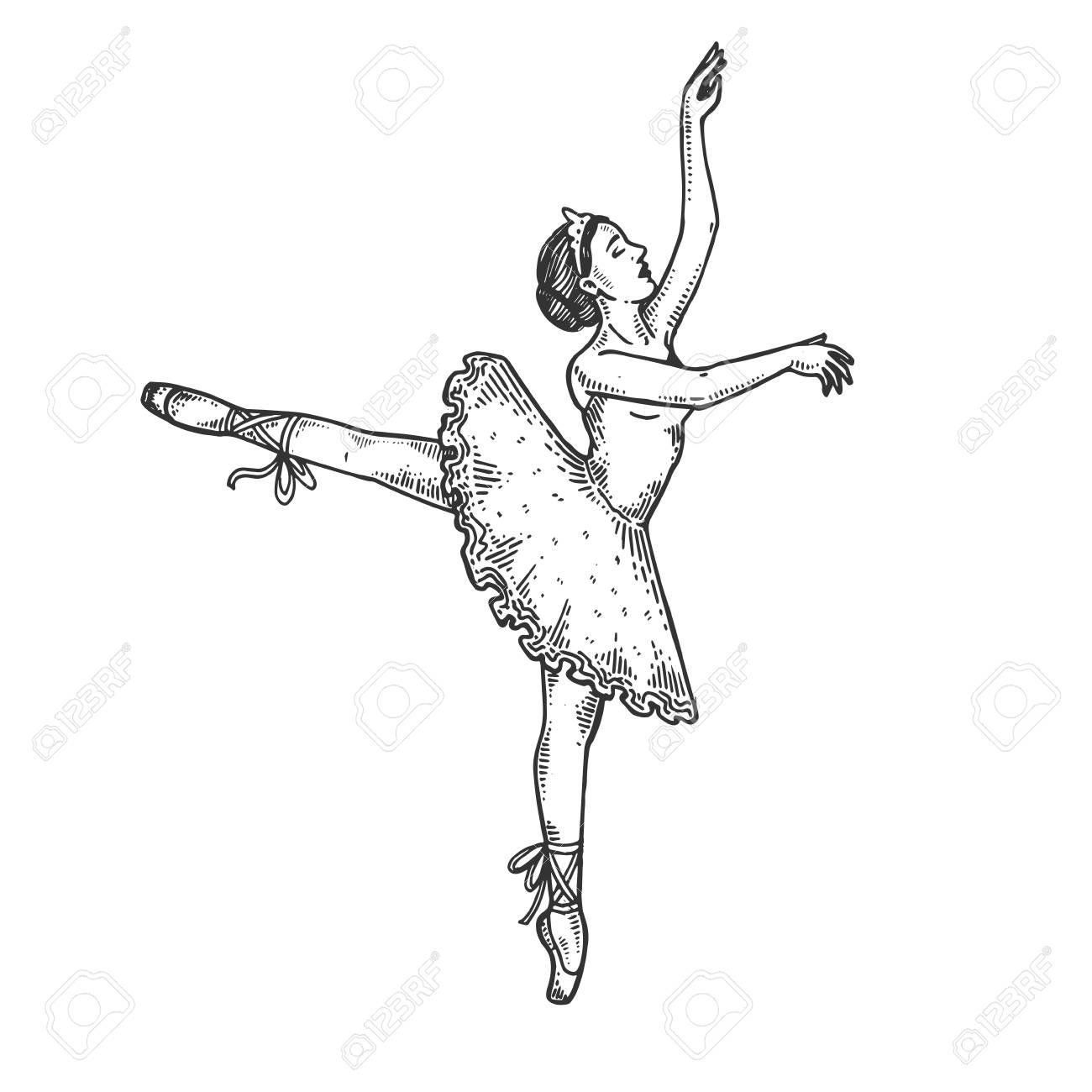 Ballet dancer woman engraving vector illustration. Scratch board...