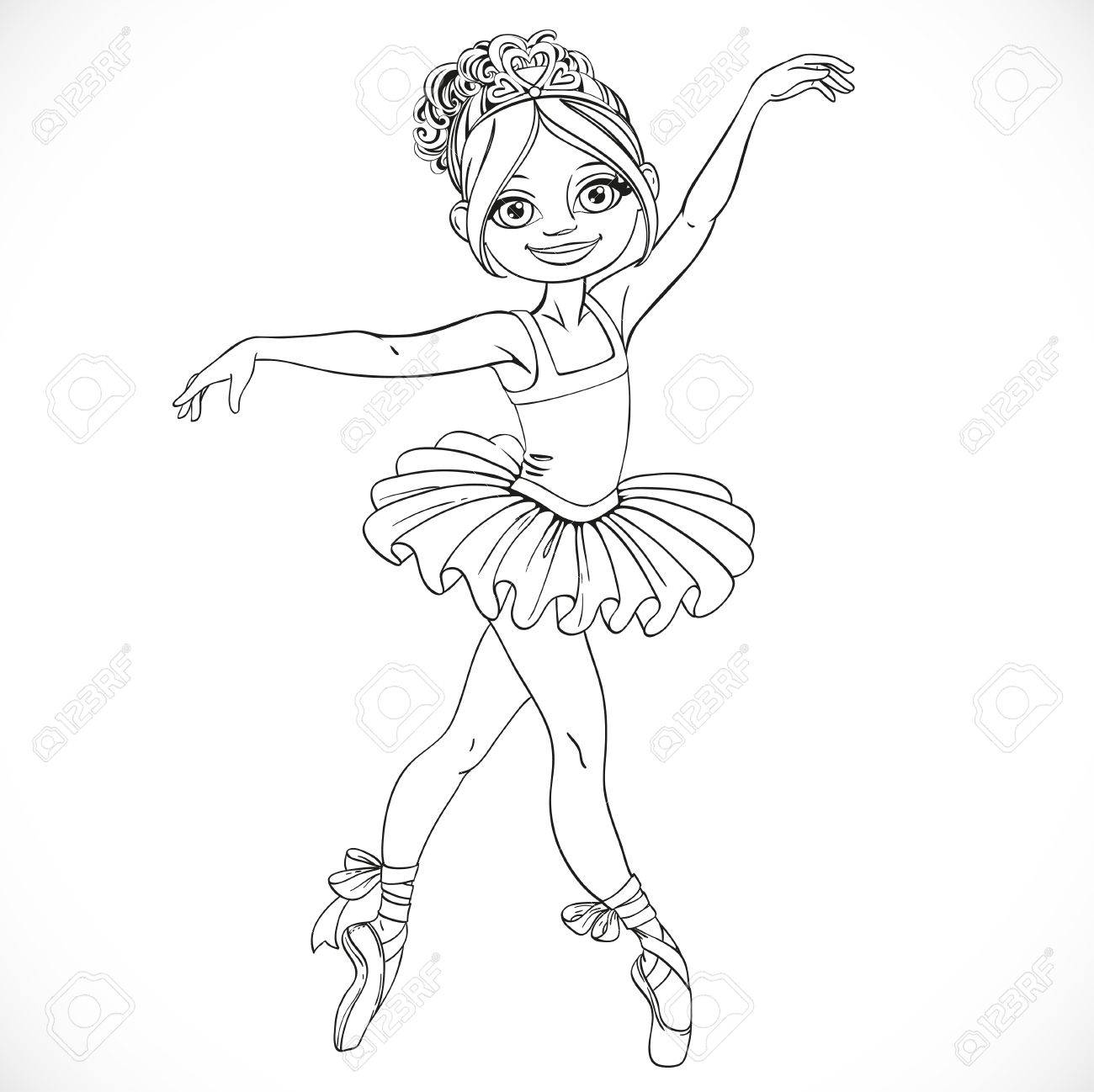 Beautiful ballerina girl dancing in tutu outlined isolated on...