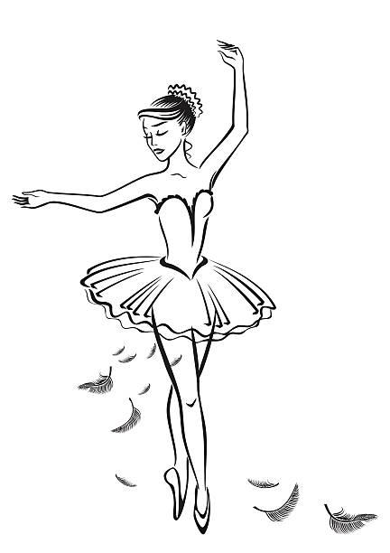 Cartoon Of Black And White Ballerina Illustrations, Royalty.