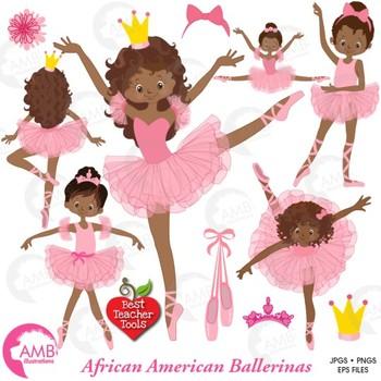 Ballet Clipart, Ballerina, Dancer Clipart, African American, AMB.