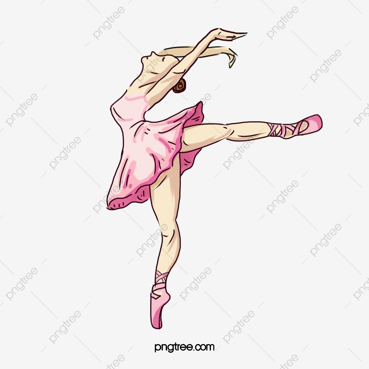 Vector Ballerina, Ballet, Painted Girl, Pink PNG and Vector with.