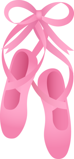 Free clip art of pretty pink ballet shoes.