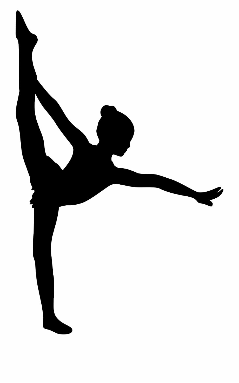 Vector Black And White Ballerina Silhouette Clipart.