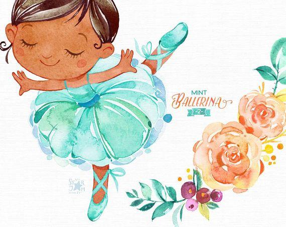 2019的Mint Ballerina 2. Watercolor clipart, little girl.